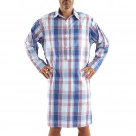 Liquette chemise Arthur en coton à carreaux blancs, bleu ciel, rouges et bleu marine
