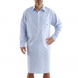 Liquette chemise Arthur en coton à rayures bleues et blanches