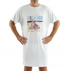 Maxi tee-shirt bleu lagon floqué de la photo d'un kangourou sur la plage