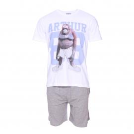 Pyjama court Arthur : Tee-shirt blanc à imprimé orang outan et bermuda gris chiné