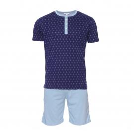 Pyjama court Arthur : Tee-shirt col tunisien bleu marine à motifs avions bleu clair et bermuda bleu clair