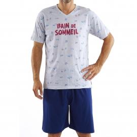 Pyjama court Arthur : Tee-shirt gris chiné à imprimé