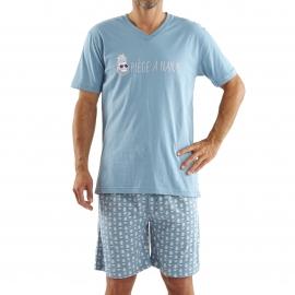 Pyjama court Arthur : Tee-shirt bleu gris floqué