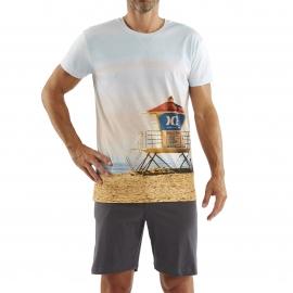 Pyjama court Arthur : Tee-shirt bleu ciel imprimé plage et short anthracite