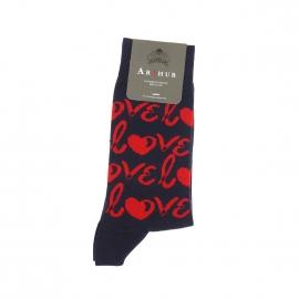 Chaussettes Arthur en pur coton bleu marine à imprimés Love rouges