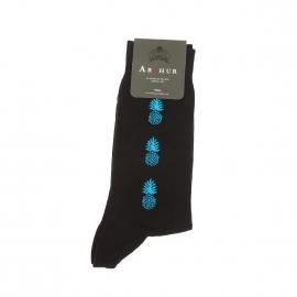Chaussettes Arthur en pur coton noir à motifs ananas turquoise