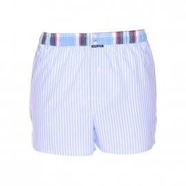 Caleçon Arthur Club à rayures bleu ciel et blanches, ceinture à carreaux multicolores