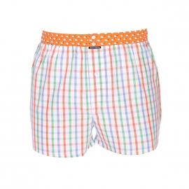 Caleçon Arthur Club en coton blanc à carreaux multicolores et ceinture orange à imprimés baleines