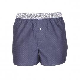 Caleçon Arthur Club en coton noir à pointillés bleus et ceinture blanche à motifs zèbres