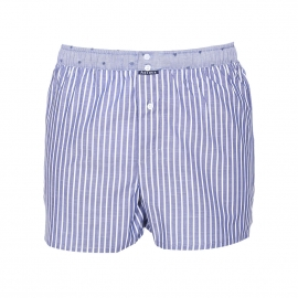 Caleçon Arthur Club à rayures bleu jean et blanches, ceinture bleu jean brodée de coeurs