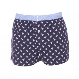 Caleçon Arthur Club en coton bleu marine à motifs volants de badminton et ceinture à fines rayures bleu ciel et blanches