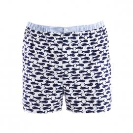 Caleçon coupe française Arthur en coton blanc à motifs poissons bleu marine