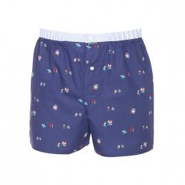 Caleçon coupe française Arthur en coton bleu marine à motifs petits vacanciers