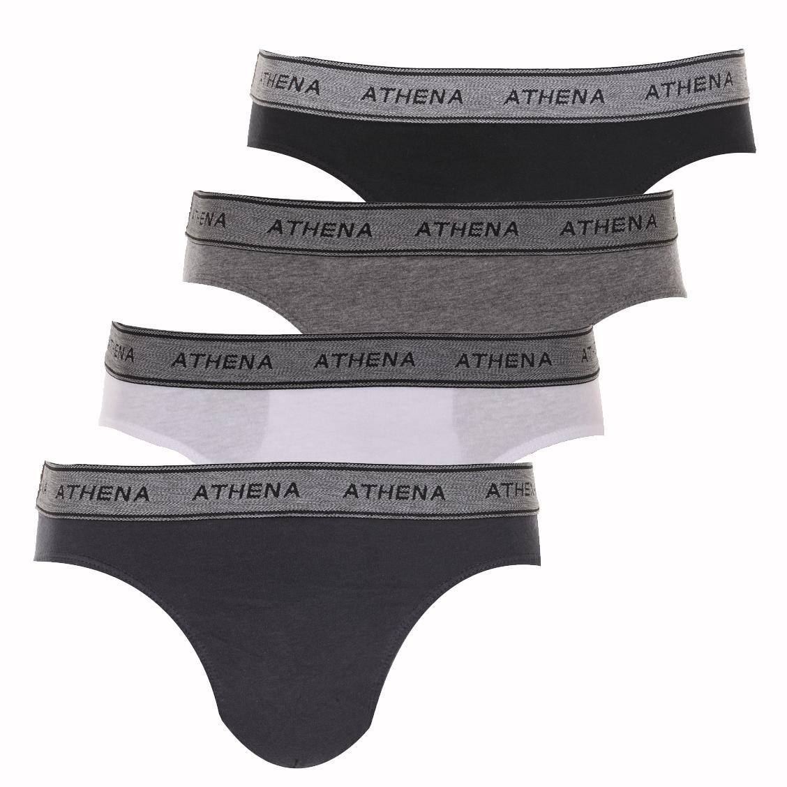 Lot de 4 slips taille basse Athena en coton, ceintures élastiquées