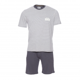 Pyjama court Athena Denim : Tee-shirt en jersey de coton à rayures beiges et grises et bermuda anthracite