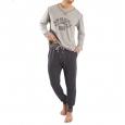 Pyjama jogging Athena Casual : Tee-shirt manches longues gris chiné floqué et pantalon anthracite
