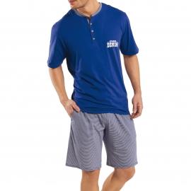 Pyjama court Athena Denim : Tee-shirt en jersey bleu indigo et bermuda à rayures blanches et bleu indigo