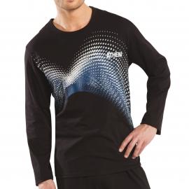 Pyjama long Athena Graphic : Tee-shirt manches longues noir à motifs graphiques rose pâle et anthracite et pantalon uni noir