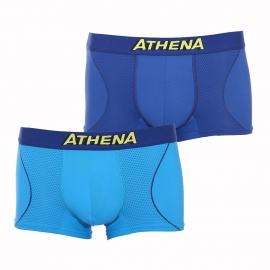 Lot de 2 boxers Athena Free Motion en microfibre Tech dry respirante bleu marine et turquoise
