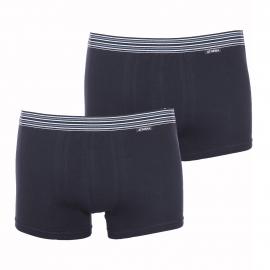 Lot de 2 boxers Athena en coton stretch noir à ceinture rayée