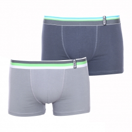 Lot de 2 boxers Athena en coton stretch poivre et gris acier à ceintures rayées colorées