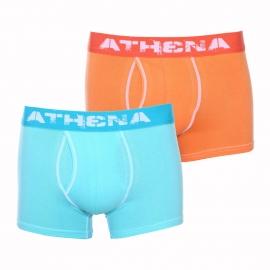 Lot de 2 boxers ouverts Athena Denim used en coton stretch orange et bleu aqua