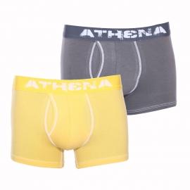 Lot de 2 boxers ouverts Athena Denim used en coton stretch poivre et jaune