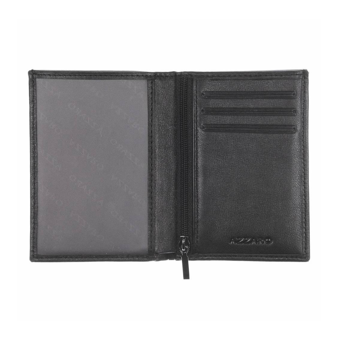 petit portefeuille azzaro en cuir lisse noir rue des hommes. Black Bedroom Furniture Sets. Home Design Ideas