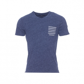 Tee-shirt Vanzo Bermudes en coton flammé bleu à poche poitrine