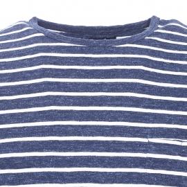 Tee-shirt Vacil Bermudes en coton bleu navy à rayures blanches