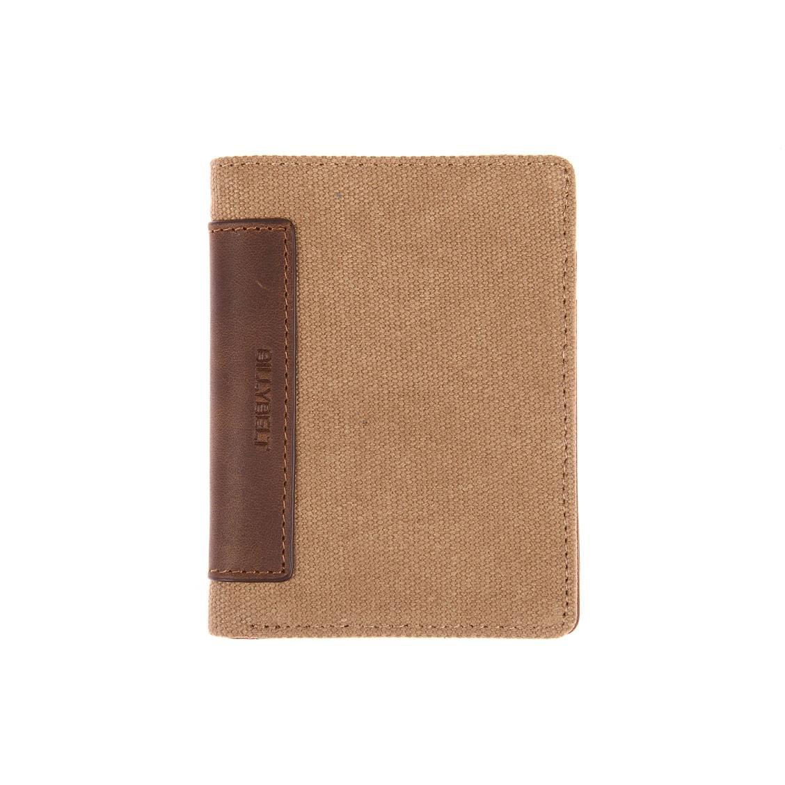 Portefeuille Billy Belt en coton ciré et cuir de vachette beige ... 28257f29960