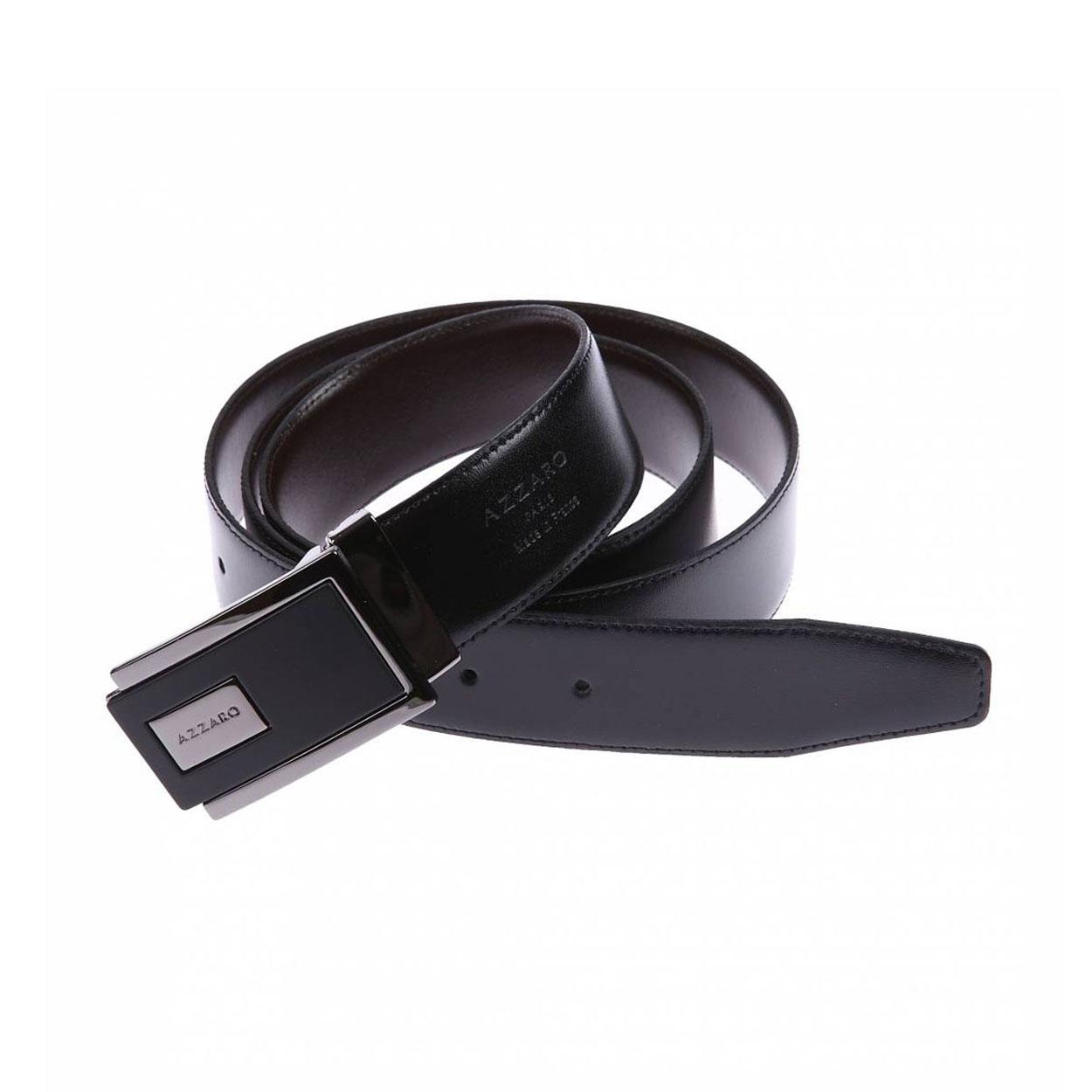 Ceinture Azzaro ajustable en cuir noir réversible marron à boucle rectangulaire bicolore
