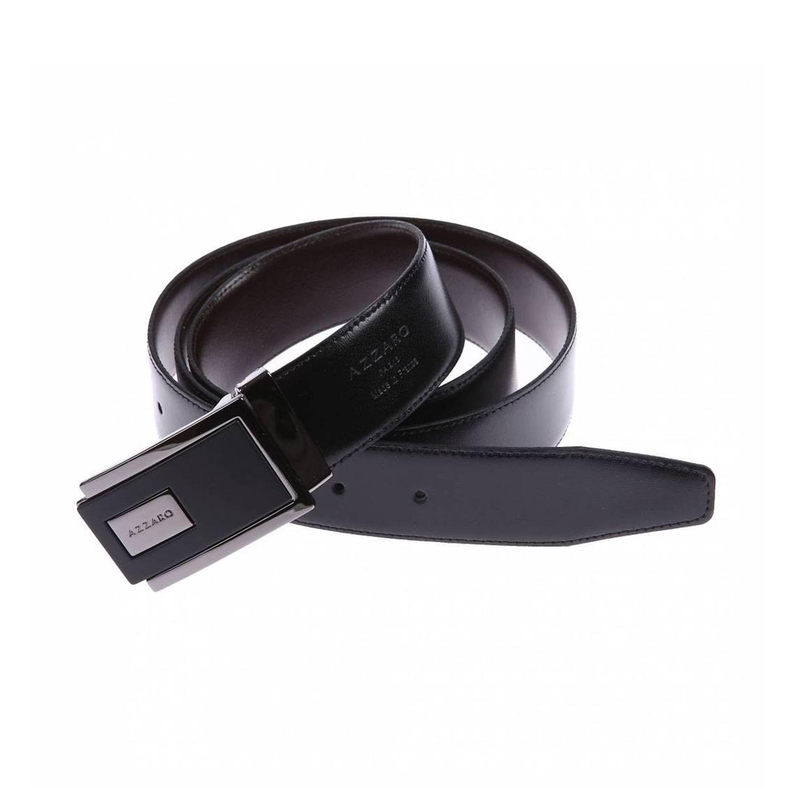 a9e4ba8e3801 Ceinture Azzaro ajustable en cuir noir réversible marron à boucle  rectangulaire bicolore