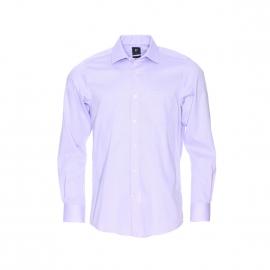 Chemise droite Pierre Cardin en coton fil à fil parme