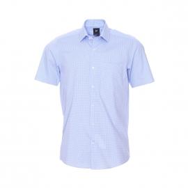 Chemise droite manches courtes Pierre Cardin à carreaux vichy bleu ciel et blancs