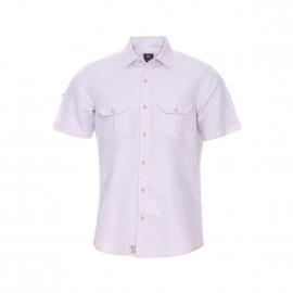Chemise droite manches courtes Pierre Cardin en coton et lin beige à poches poitrine