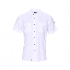 Chemise droite manches courtes Pierre Cardin en coton et lin blanc