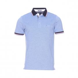 Polo Pierre Cardin en coton stretch bleu clair à col bleu marine à rayures
