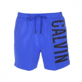 Short de Bain Calvin Klein bleu électrique floqué en noir