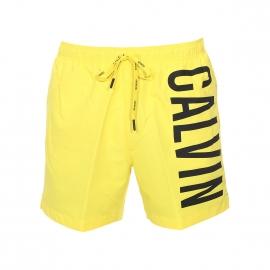 Short de Bain Calvin Klein jaune floqué en noir