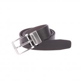 Ceinture ajustable Calvin Klein Jeans réversible noire et grise à boucle argentée