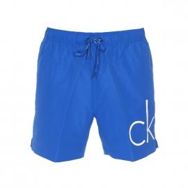 Short de Bain Calvin Klein bleu électrique floqué CK en blanc