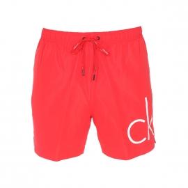 Short de Bain Calvin Klein rouge floqué CK en blanc