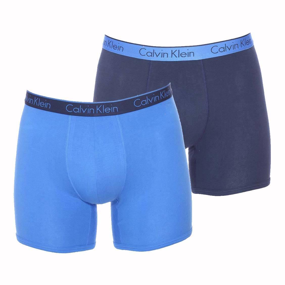 lot de 2 boxers longs calvin klein en coton stretch 1 mod le bleu marine et 1 mod le bleu. Black Bedroom Furniture Sets. Home Design Ideas