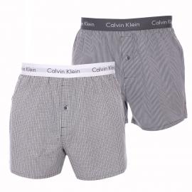 Lot de 2 caleçons Calvin Klein en pur coton : 1 modèle à carreaux gris et blancs et 1 modèle à rayures