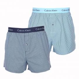 Lot de 2 caleçons Calvin Klein en pur coton : 1 modèle à carreaux turquoise et bleu marine et 1 modèle à rayures