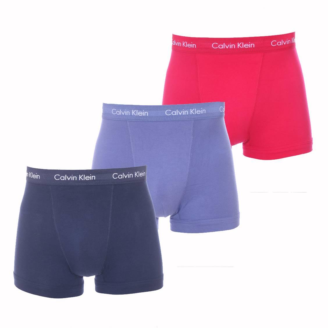 lot de 3 boxers calvin klein en coton stretch bleu jean bleu marine et framboise rue des hommes. Black Bedroom Furniture Sets. Home Design Ideas
