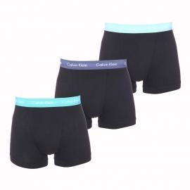 Lot de 3 boxers Calvin Klein en coton stretch noir à ceinture vert pâle, bleu ciel et bleu marine