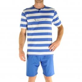 Pyjama court Christian Cane Nestor : Tee-shirt à petit col tunisien à rayures blanches et bleu indigo et short bleu indigo