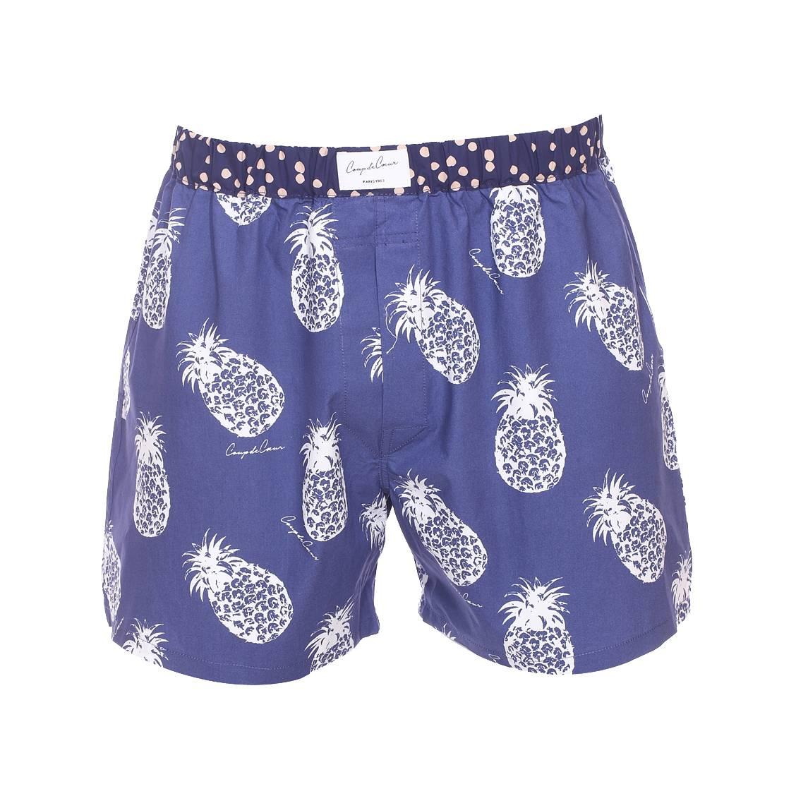 Cale on coup de c ur en coton bleu motifs ananas rue des hommes - Pyjama homme marque coup de coeur ...